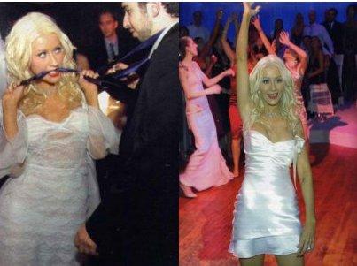 Cristina Aguilera con due abiti il giorno del matrimonio
