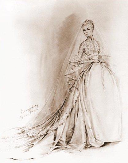 Bozzetto abito da sposa Grace Kelly di Helen Rose- Foto Bettmann- Corbis