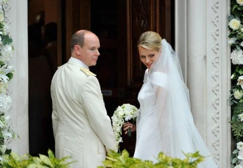 Alberto e Charlene di Monaco alla Chiesa di Santa Devota - Foto Getty Images