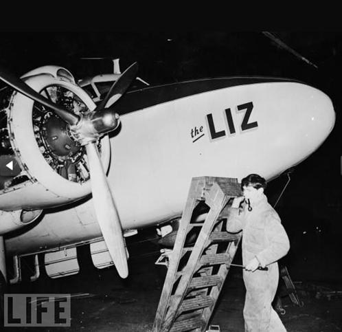 Aeroplano di Mike Todd con nome Liz - Foto da Life