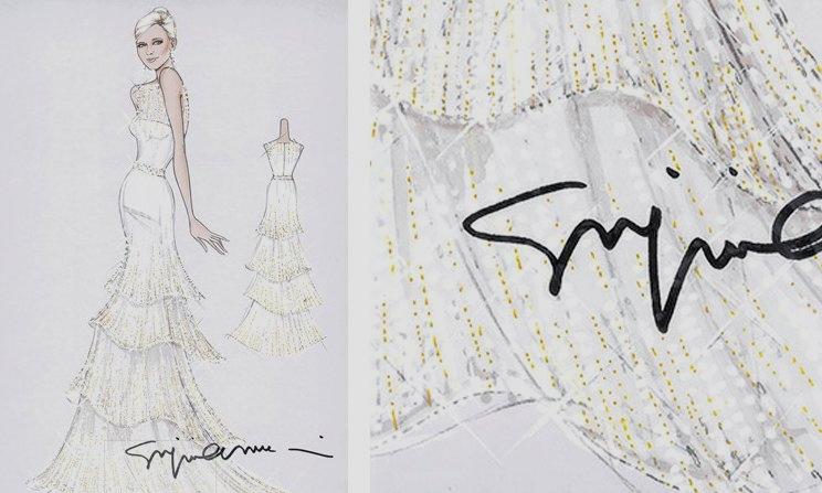 Bozzetto Armani abito sera Cahrlene di Monaco nozze religiose - da Vogue UK