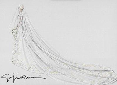 Bozzetto Armani abito charlene di Monaco da Vogue UK
