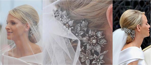 cconciatura e fermaglio Charlene di Monaco alle nozze - Foto da lacortereale.blogspot.com