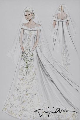 Bozzetto abito sposa Armani per Charlene di Monaco - da Vogue UK
