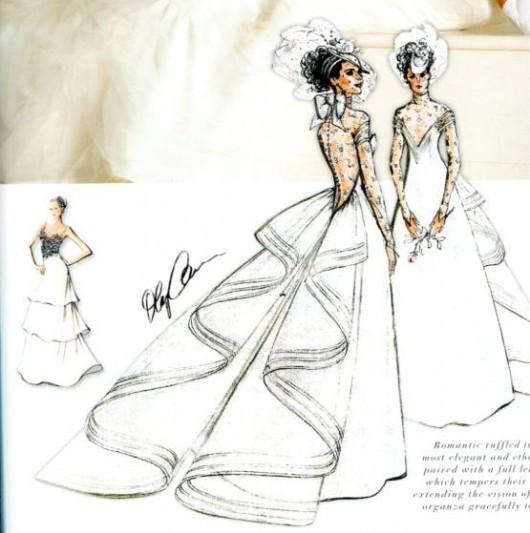 Bozzetto abito da sposa Cassini