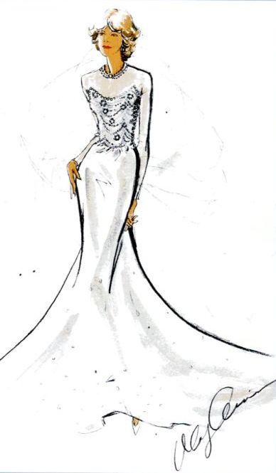 Bozzetto proposta abito da sposa Cassini per Camilla Parker Bowles