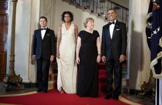 Barack e Michelle Obama ricevono Angela Merkel alla Casa Bianca