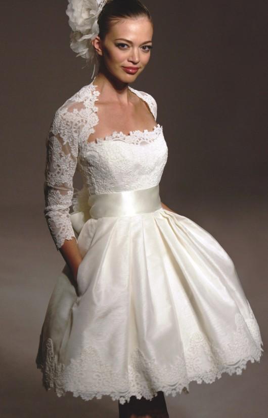 abito da sposa corto con pizzo