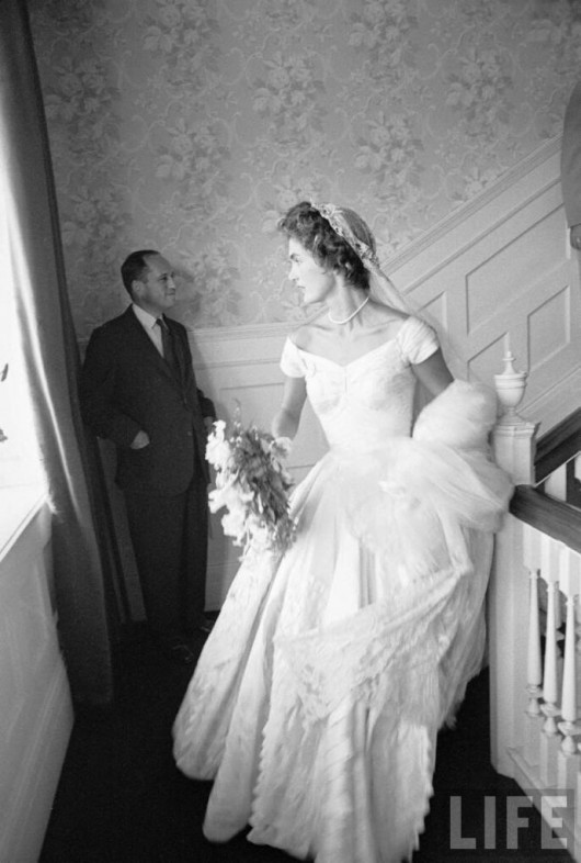 Jackie Bouvier in Kennedy wedding dress