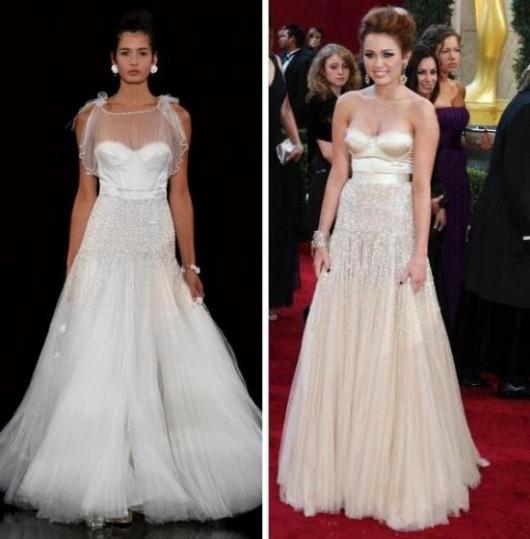 Miley Cyrus agli Oscar 2010 e modello Janny Packham da sfilate
