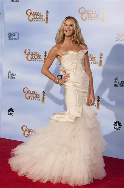 Elle Macpherson in Zac Posen ai Golden Globe 2012