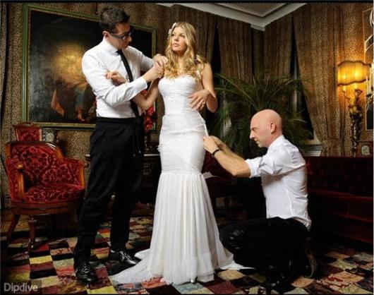 Fergie dei Black Eyed Peas in abito da sposa con Dolce & Gabbana - Foto DipDive