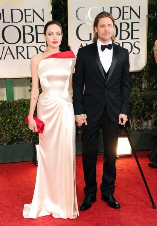 Angelina Jolie e Brad Pitt ai Golden Globe 2012