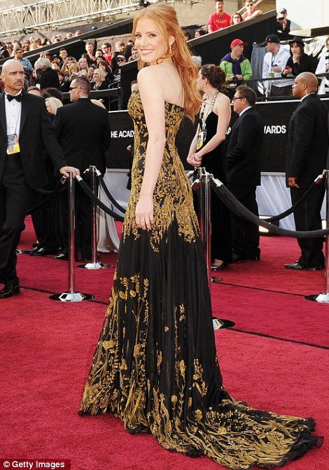 Jessica Chastain agli Oscar 2012 - Foto Getty