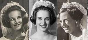 Le tre figlie della regina Ingrid Regina di Danimarca con la tiara Khedivè: da sinistra Anna Maria, Benedikte e Margherethe