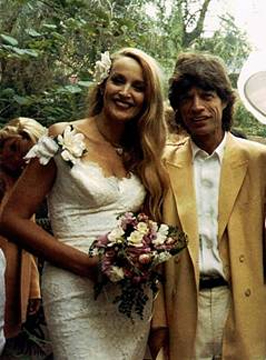 Mick Jagger e Jerry Hall alle nozze nel 1990