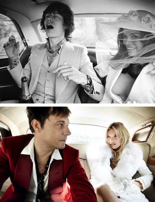 la corsa in auto alle nozze di Micke e Bianca Jagger e di Kate Moss e Jamie Hince
