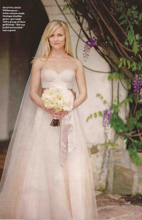 Reese Witherspoon in abito da sposa Monique Lhullier