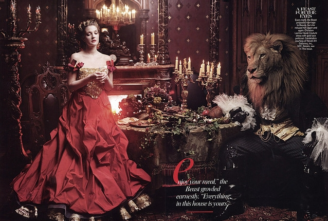 Drew Barrymore in Christian Lacroix Haute Couture in Beauty and the Beast Vogue April 2005