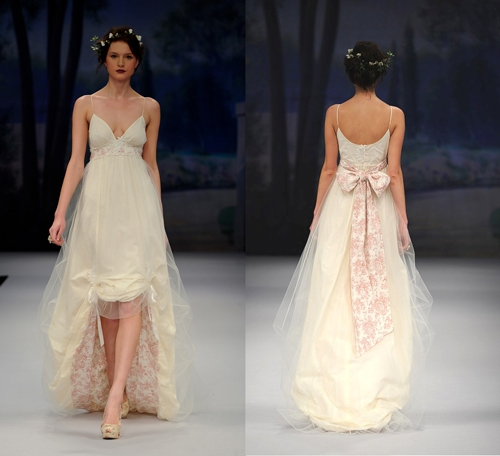 High-low hemlines Amelie wedding dress Claire Pettibone Fall 2012 collection