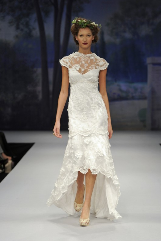 High-low hemlines Marcelle wedding dress by Claire Pettibone Fall 2012