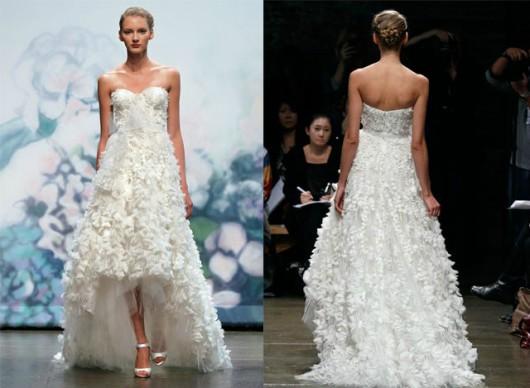 High-low hemlines Garland wedding dress Paltinum Collection by Monique Lhuillier 2012