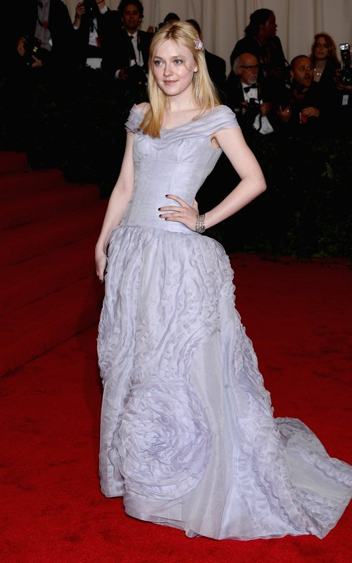 Dakota Fanning in Louis Vuitton at Met Ball 2012 - Getty