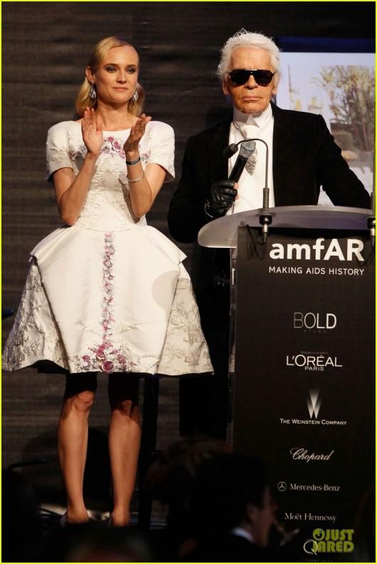 Diane Kruger & Karl Lagerfeld amFAR Gala 2012