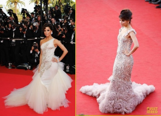 Eva Longoria a Cannes 2008 in Versace e a Cannes 2012 in Marchesa