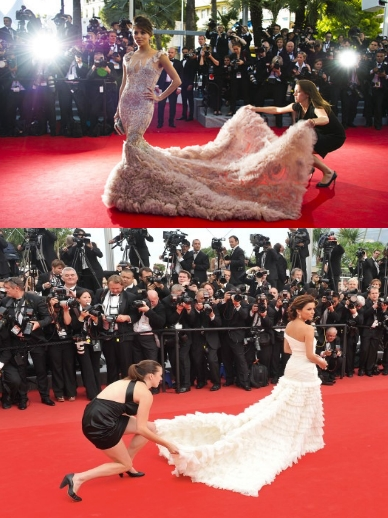 Eva Longoria a Cannes 2010 in Emilio Pucci e a Cannes 2012 in Marchesa