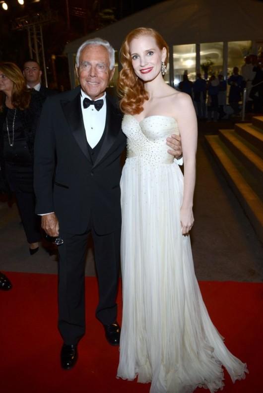 Jessica Chastain in Armani con Armani, Cannes Film Festival, 18.5.12, Foto Getty