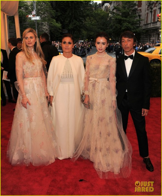 Lily Collins and Brit Marling in Valentino at Met Ball 2012 - JustJared