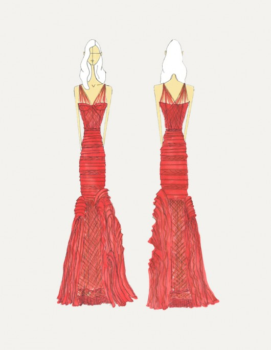 Vera Wang sketch for Wendi Murdoch -  verawang.com