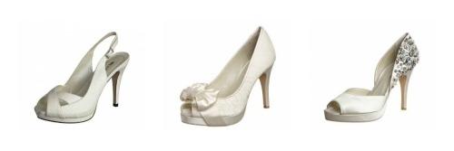 Tre modelli di scarpe da sposa bianche by Menbur. Foto: Zalando