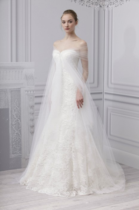 mantella sposa in tulle Escape Monique Lhuillier Spring 2013