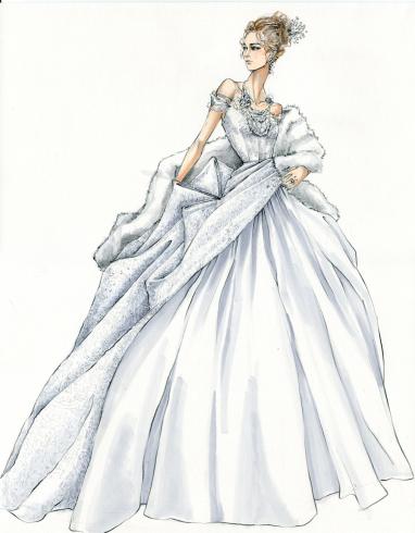 bozzetto originale Jacqueline Durran per abito film Anna Karenina