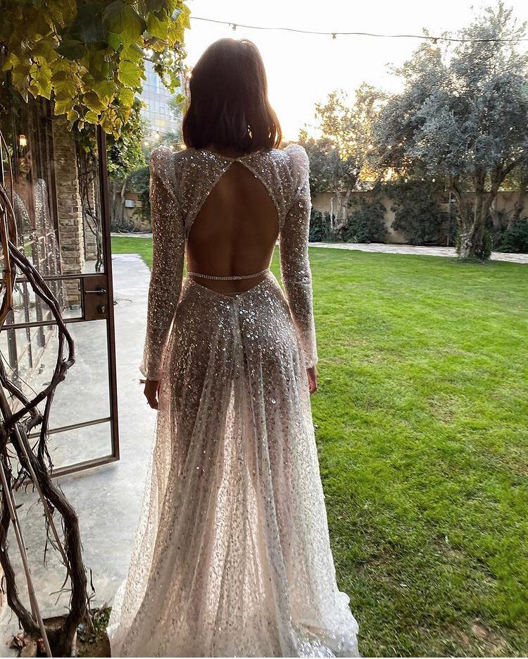 abito da sposa con paillettes Muse Berta 2021