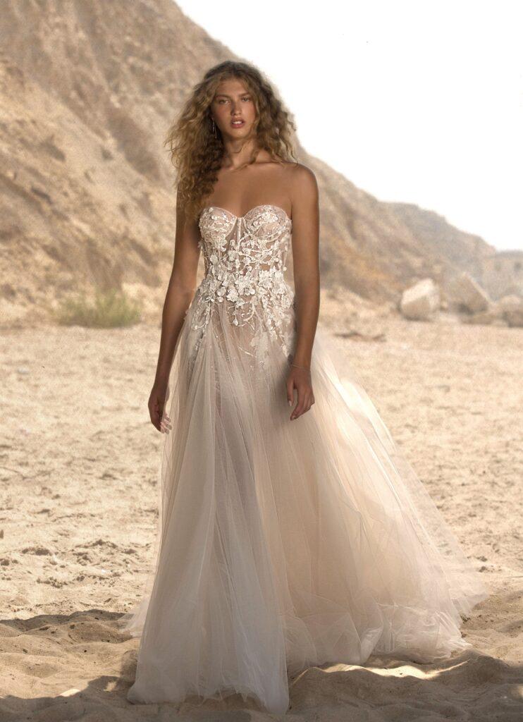 abito da sposa senza spalline Muse Berta 2021