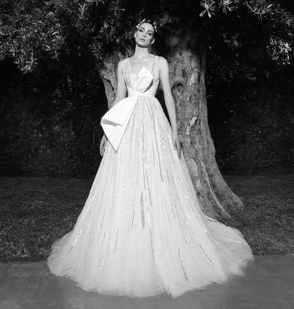 abito da sposa in taffeta e paillettes Zuhair Murad Spring 2022